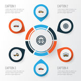 Car Colorful Outline Icons Set. Collection Of Rudder, Bonnet, Drive And Other Elements. Also Includes Symbols Such As. Car Colorful Outline Icons Set. Collection Stock Illustration