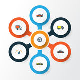 Car Colorful Outline Icons Set. Collection Of Rudder, Car, Sport And Other Elements. Also Includes Symbols Such As Hood. Car Colorful Outline Icons Set Royalty Free Stock Images