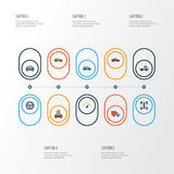 Car Colorful Outline Icons Set. Collection Of Rudder, Carcass, Speed And Other Elements. Also Includes Symbols Such As. Car Colorful Outline Icons Set Stock Image