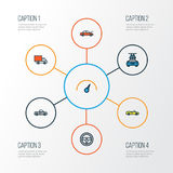 Car Colorful Outline Icons Set. Collection Of Sport Stock Images