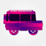 Car 4x4 with colorful triangles. Car 4x4 with a colored triangles forming a gradient, purple to pink stock illustration