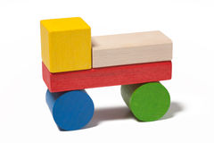 Car from colorful wooden toy blocks Stock Photo