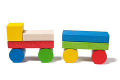 Car from colorful wooden toy blocks Royalty Free Stock Photos
