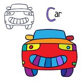 Car. Coloring book page. Cartoon vector illustration royalty free illustration
