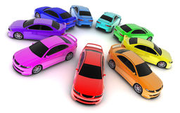 Car colour. Sporting car on a white background  (3d done Royalty Free Stock Image