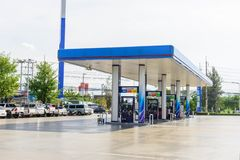 Car coming to refuel oil in PTT petrol station. Nakhon pathom , Thailand -  5 June, 2019 : car coming to refuel oil in PTT petrol station royalty free stock photos