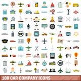 100 car company icons set, flat style. 100 car company icons set in flat style for any design vector illustration stock illustration