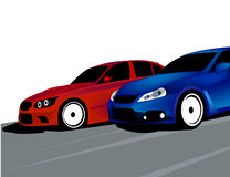 Car competition race. This is a vectorized image of two cars competing. the illustration has been isolated in white for easy editing. AI and EPS file available Royalty Free Stock Image