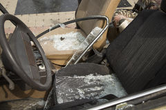 Car completely destroyed with broken glass Royalty Free Stock Photo