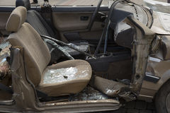 Car completely destroyed with broken glass Stock Image