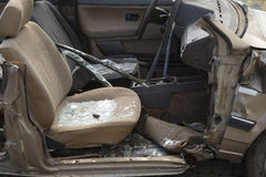 Car completely destroyed with broken glass Royalty Free Stock Photos