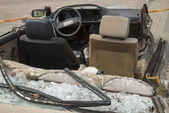 Car completely destroyed with broken glass Stock Photography