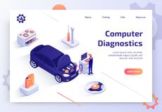 Car Computer Diagnostics Service Vector Web Site. Car Repair Shop, Auto Dealer Service, Vehicle Maintenance Station Isometric Vector Web Banner with Qualified vector illustration
