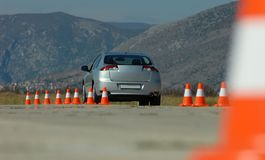 Car and cones Royalty Free Stock Image
