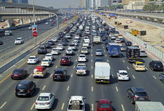 Car congestion in the traffic higway of Dubai city Royalty Free Stock Image
