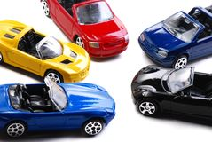 Car Conjestion. Some colored toy cars arranged like in a road congestion royalty free stock images