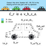 Car connect dots coloring Stock Photo