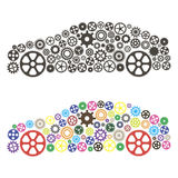 Car consisting of gears. Car consisting of the gears on white background Stock Photography