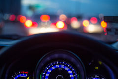 The car console. Waiting in a traffic jam at evening Royalty Free Stock Photo