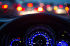 The car console. Waiting in a traffic jam at evening Royalty Free Stock Images