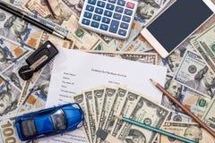 Car contract, toy car, dolla , calculator  pen, Stock Photo