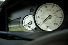 Car control panel. Empty gas gauge and speedometer stock photo