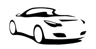 Car convertible silhouette. For print or for site vector illustration