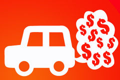 Car costs. Car costing a lot due to expensive gasoline Royalty Free Stock Photography