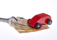 Car costs. For checking for the repair and other costs royalty free stock photography