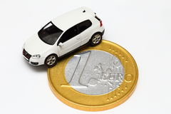 Car on a one Euro coin Royalty Free Stock Photography