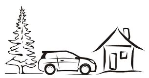Car, cottage and tree Royalty Free Stock Photography