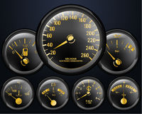 Car Counters. Car dashboard, Engine, Battery, Heat and oil Counters Stock Image