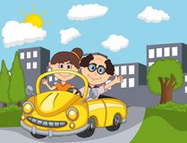 Car and a couple old passengers with city background cartoon. Full color vector illustration