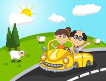 Car, a couple old passengers, Hill and sheep background cartoon Stock Photography