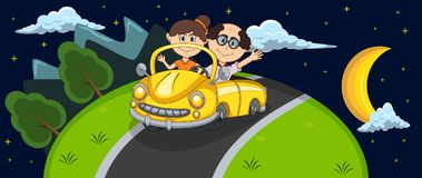 Car, a couple old passengers passes through the hill at night background cartoon Stock Images