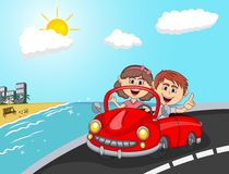 Car, a couple young passengers with beach background cartoon Royalty Free Stock Photos