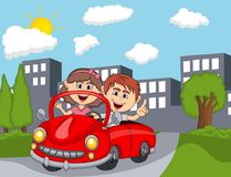 Car and a couple young passengers with city background cartoon. Full color Royalty Free Stock Images