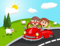 Car, a couple young passengers with Hill and sheep background cartoon Royalty Free Stock Photography