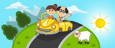 Car, a couple young passengers with Hill and sheep background cartoon Royalty Free Stock Photos