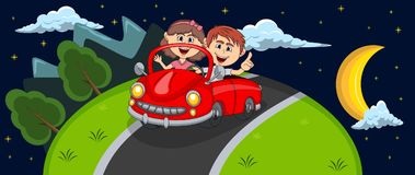 Car, a couple young passengers passes through the hill at night background cartoon Royalty Free Stock Image