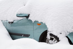 Car covered with big snow Royalty Free Stock Photo
