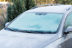 Car covered with frost Royalty Free Stock Photos