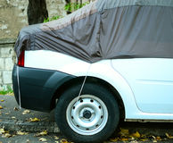 Car covered with protections sheet - Protect car concept. This image represents the Car covered with protections sheet - Protect car concept Royalty Free Stock Photo