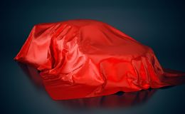 Car covered with red cloth. 3D illustration.  Royalty Free Stock Image
