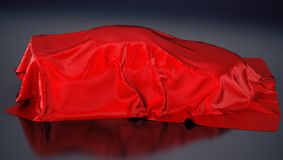 Car covered with red cloth. 3D illustration.  Stock Image