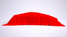 Car covered with red cloth. Render studio Royalty Free Stock Photos