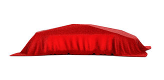 Car covered with red velvet. Isolated Royalty Free Stock Images