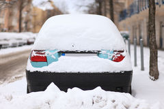Car Covered by Snow Stock Photo