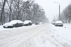 Car covered in snow Stock Images