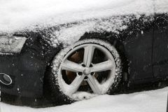 Car covered with snow after heavy snowfall.  royalty free stock photos